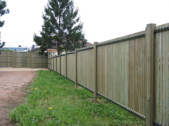 Panneau bois Collfort 203×200 pour clôture, treillis vert  ~ Panneau De Bois Pour Cloture